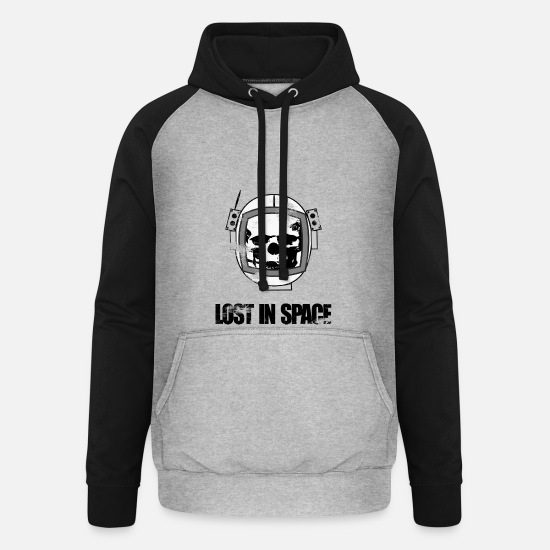Astronaut Hoodies & Sweatshirts - Skull Astronaut - Unisex Baseball Hoodie heather grey/black