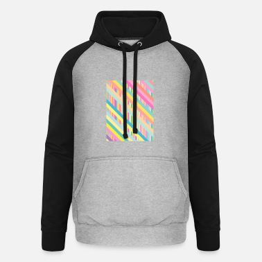 Pastel Pastel Dreams: sloping pastel stripes - Unisex Baseball Hoodie