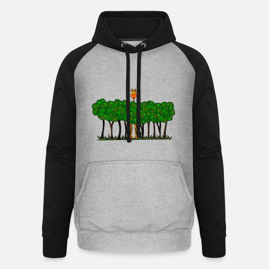 Forest Hoodies & Sweatshirts - Giraffe in the forest - Unisex Baseball Hoodie heather grey/black