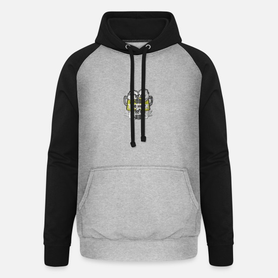 Alcohol Hoodies & Sweatshirts - BEERFRIEND BEER CUISINE - Unisex Baseball Hoodie heather grey/black