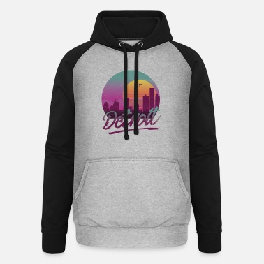 Michigan Detroit Michigan Vintage 80s Style Skyline Sunset - Baseball hoodie unisex