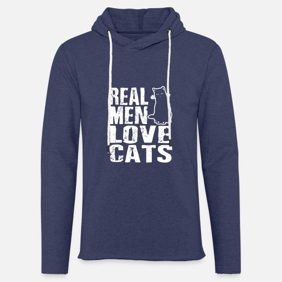 Tierfreund Pullover & Hoodies - Real Men Loves Cats Male Cat lover gift - Unisex Kapuzen-Sweatshirt Navy meliert