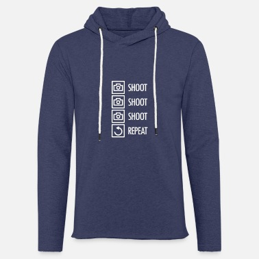 Shooting Photography - Shoot Shoot Shoot Repeat - Light Unisex Sweatshirt Hoodie