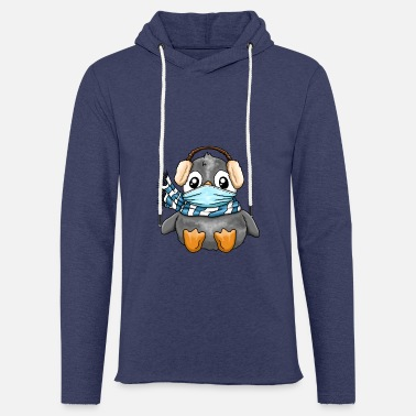 Cute penguin with face mask scarf winter design - Unisex Sweatshirt Hoodie