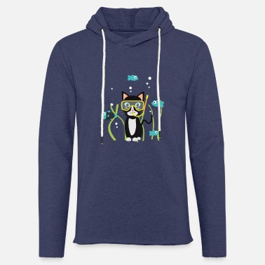 Cartoon Character Underwater diving cat with fish - Unisex Sweatshirt Hoodie