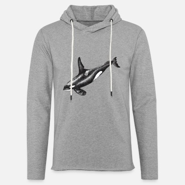 Orca Killer Whale Drawing Black and White Ink - Unisex Sweatshirt Hoodie