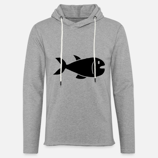 Poissons Sweat-shirts - Fish Design - Sweat à capuche léger unisexe gris chiné