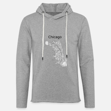 Chicago carte de rue stylisée Chicago - Sweat à capuche léger unisexe