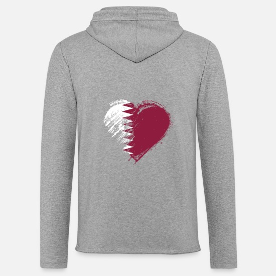 Love Hoodies & Sweatshirts - Grungy I Love Qatar Heart Flag - Unisex Sweatshirt Hoodie heather grey
