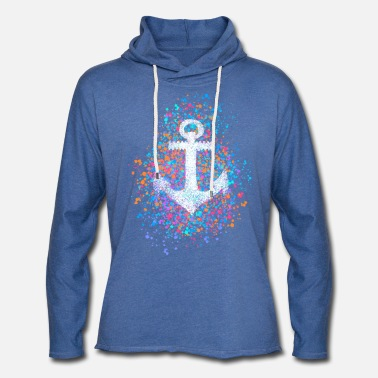 Anchor, splashes of color, summer, sea, port, sailing - Light Unisex Sweatshirt Hoodie