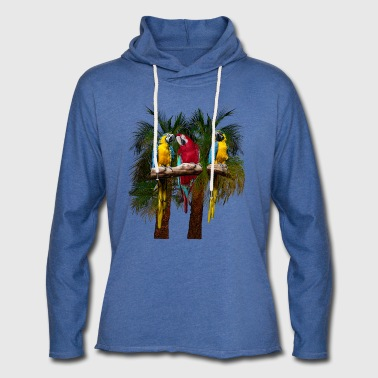 3 parrots in front of palm trees - Light Unisex Sweatshirt Hoodie