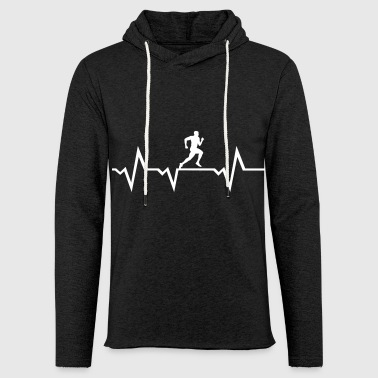 Running Man & Heartbeat -courir - Sweat-shirt à capuche léger unisexe