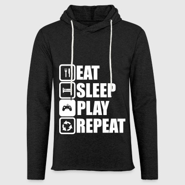eat sleep play,geek,gamer,gaming,Videospiel - Leichtes Kapuzensweatshirt Unisex