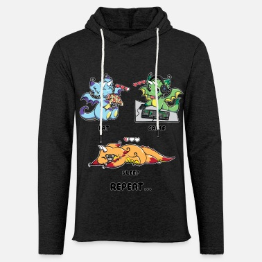 Peli Syö Game Sleep Repeat - Peli Dragon Geek Life - Kevyt unisex-huppari