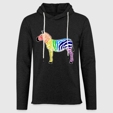 Animal cool frappant arc-en-ciel de zèbre coloré - Sweat-shirt à capuche léger unisexe
