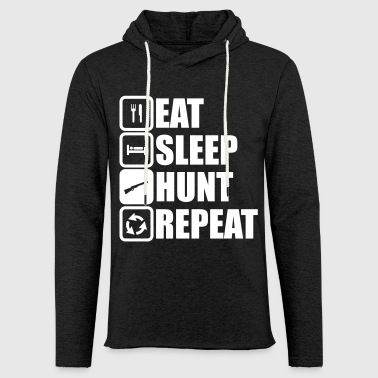 eat sleep hunt repeat - Leichtes Kapuzensweatshirt Unisex