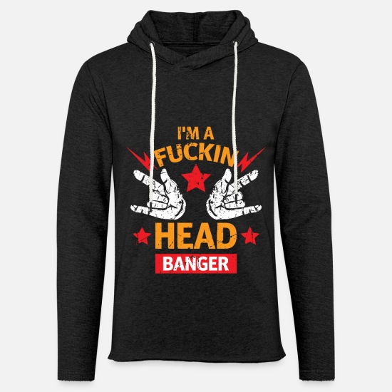 Guitar Player Hoodies & Sweatshirts - Fuckin Headbanger Heavy Metal Rock Music Musician - Unisex Sweatshirt Hoodie charcoal grey
