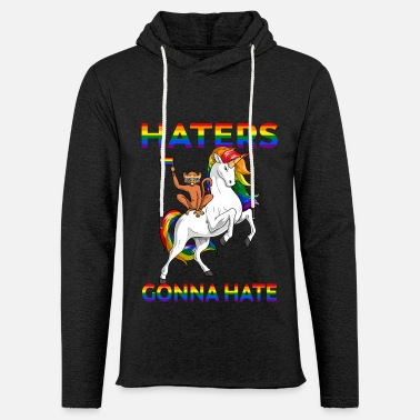 Défilé LGBT Gay Pride Monkey Riding Unicorn Haters Gonna - Sweat à capuche léger unisexe