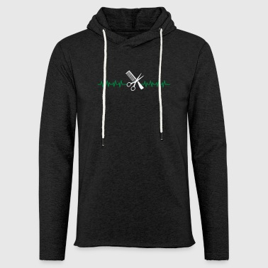 Gift hairdresser barber heartbeat scissors comb - Light Unisex Sweatshirt Hoodie