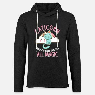 Chat Caticorn moitié chat, moitié licorne All Magic - Sweat-shirt à capuche léger unisexe