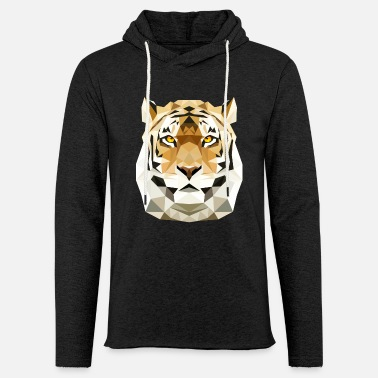 Tiger Tiger Cat poly low polygon predator cat - Light Unisex Sweatshirt Hoodie