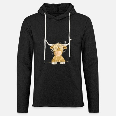 Funny Scottish Highland cow cow gift - Light Unisex Sweatshirt Hoodie