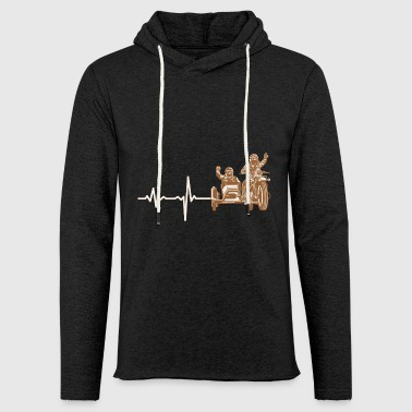 Gift heartbeat motorcycle sidecar - Light Unisex Sweatshirt Hoodie