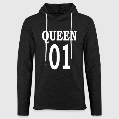 Queen01white - Sweat-shirt à capuche léger unisexe