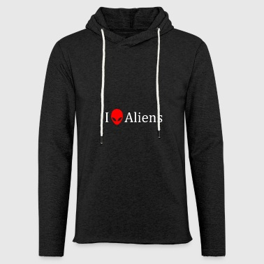 I love aliens alien gift idea head - Light Unisex Sweatshirt Hoodie