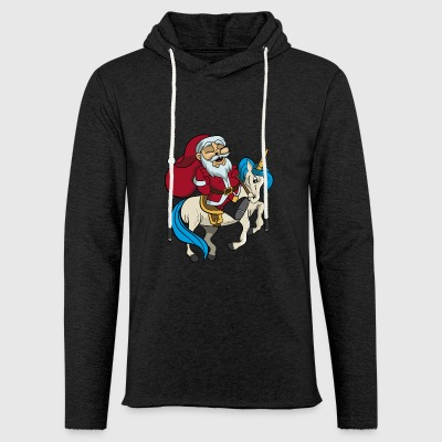 Santa Riding Unicorn julegave - Let sweatshirt med hætte, unisex