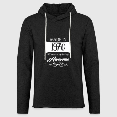 48th birthday gift vintage 1970 awesome - Light Unisex Sweatshirt Hoodie