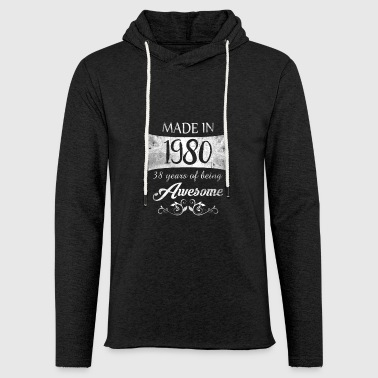 38th birthday gift vintage 1980 awesome - Light Unisex Sweatshirt Hoodie