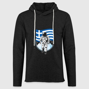 Greece flag in space Astronaut gift - Light Unisex Sweatshirt Hoodie