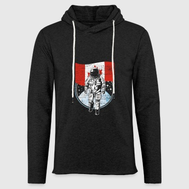 Astronaut with flag of Canada in outer space - Light Unisex Sweatshirt Hoodie