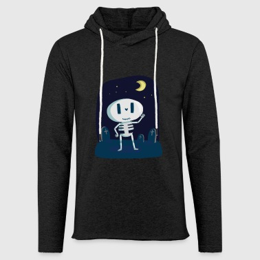 Skeleton with tombstone and moon - Light Unisex Sweatshirt Hoodie