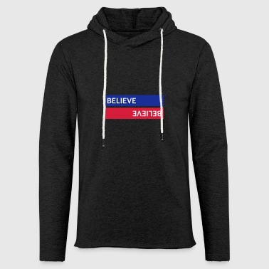 BELIEVE BLUE / RED - Light Unisex Sweatshirt Hoodie