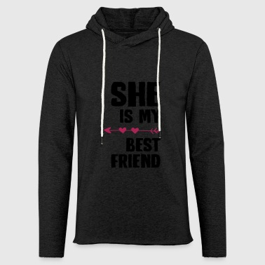 She is my best friend Right - Leichtes Kapuzensweatshirt Unisex