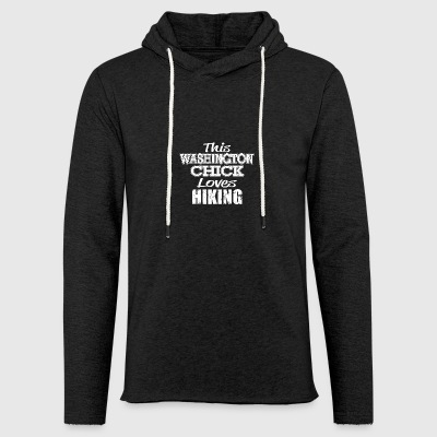 washington girl loves hiking - Leichtes Kapuzensweatshirt Unisex