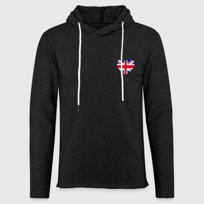 UK Flag Shirt Heart - Brittish Shirt - Light Unisex Sweatshirt Hoodie