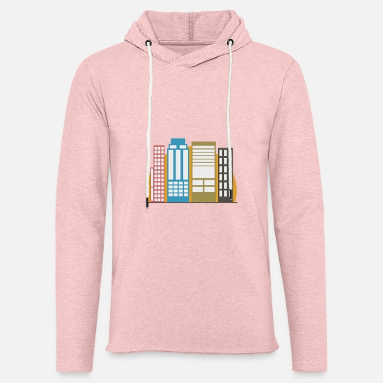 Highrise Building Hoodies & Sweatshirts - Building sunset - Unisex Sweatshirt Hoodie cream heather pink