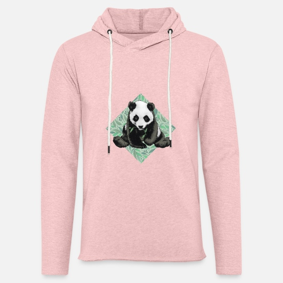Junglecontest Sweat-shirts - Panda - Sweat à capuche léger unisexe rose crème chiné