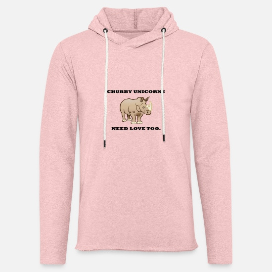 Love Hoodies & Sweatshirts - chubby unicorns need love too. - Unisex Sweatshirt Hoodie cream heather pink