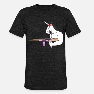 Broń Unicorn Rambo Muscles Weapon War Rainbow - Koszulka triblend unisex
