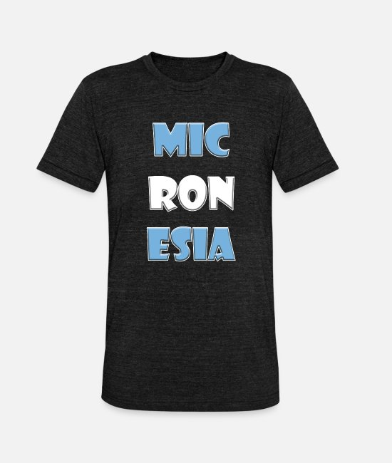 Travel T-Shirts - Micronesia country name with colors - Unisex Tri-Blend T-Shirt heather black