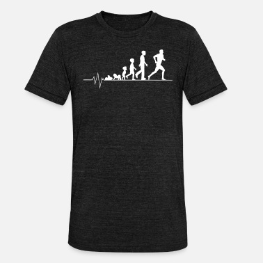 Exercise Heartbeat jogging running race sport gift - Unisex Tri-Blend T-Shirt