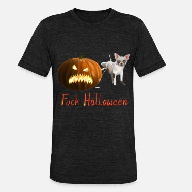 Angry Fuck Pissed Angry Pumpkin Fuck Halloween - Unisex Tri-Blend T-Shirt by Bella & Canvas