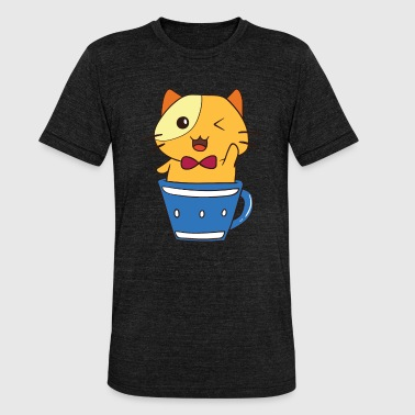 Wink Cat Mug Meow Cat lover gift - Unisex Tri-Blend T-Shirt by Bella & Canvas