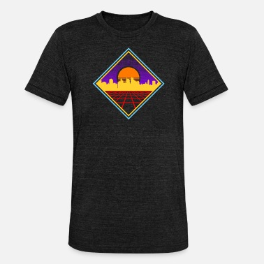 80s Geometric 80s Synthwave Geometric Skyline Sunrise Gift - Unisex Tri-Blend T-Shirt by Bella & Canvas