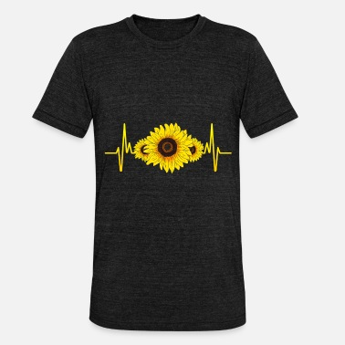 Sunshine Sunshine Flower Blossom Heartbeat Sunflower - Unisex Tri-Blend T-Shirt