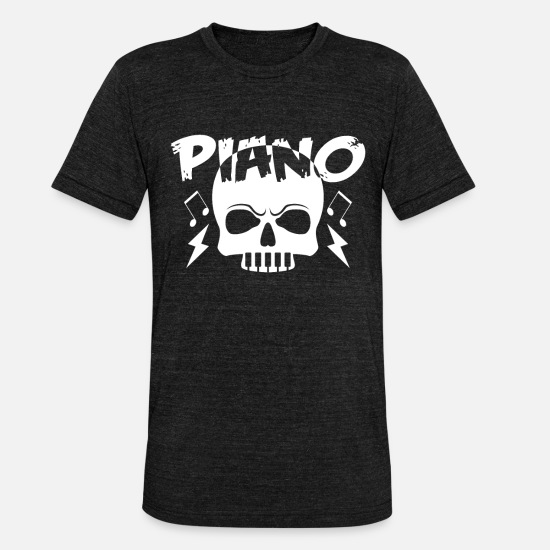 Skeleton T-Shirts - piano - Unisex Tri-Blend T-Shirt heather black